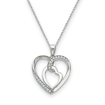 925 Sterling Silver Polished Spring Ring CZ Cubic Zirconia Simulated Diamond My Love Heart To Yours 18inch Necklace Jewe