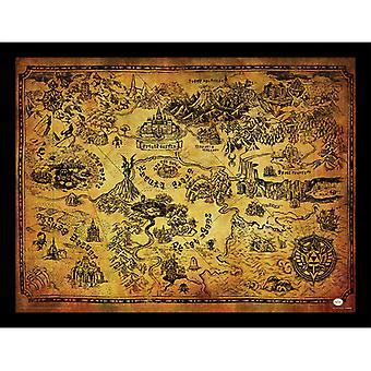 Zelda Hyrule Mapa Mapa Placa Enmarcada 30 * 40cm
