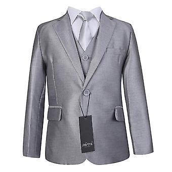 Boys Light Silver Wedding Suit Set