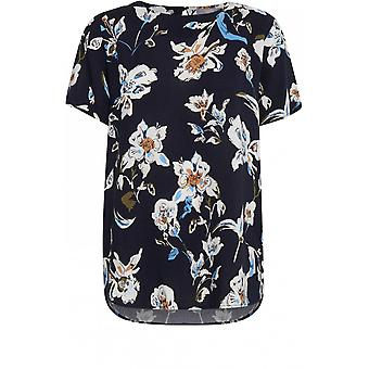 b.young Navy Floral Print Top