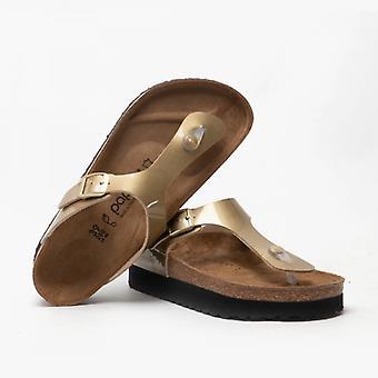Papillio по Birkenstock Gizeh 1015875 (рег) Дамы Бирко-флор-то Пост сандалии Золото