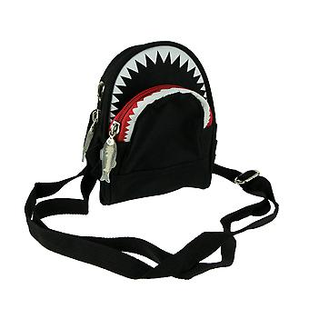 Nylon Canvas Scary Shark Crossbody Bag Small