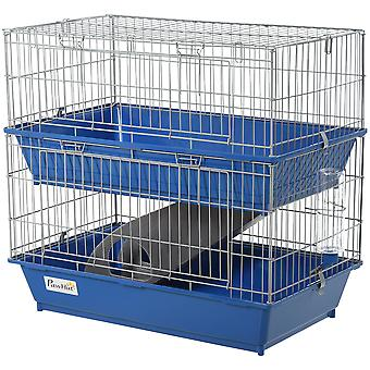 PawHut 2-Tier Small Animal Cage Metal Wiring w/ Ramp Food Dish Water Bottle Deep Trays Hamster Rat Chinchilla Guinea Pig Pet Home Large