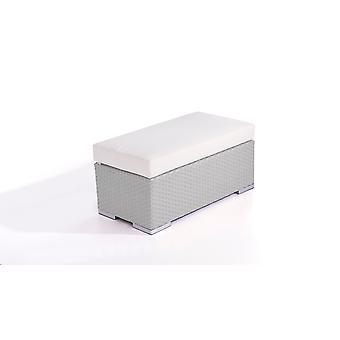 Polyrattan Cube kruk 45 cm - grijs satijn