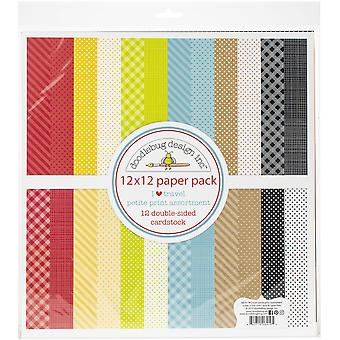 "Doodlebug Petite Prints Double-Sided Cardstock 12""X12"" 12/Pk-I Heart Travel, 12 Designs/1 Each"