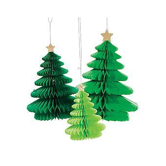 3 Juletræ Hængende Honeycomb Tissue Papir Dekorationer