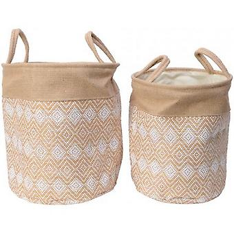 Diamond Print Round Baskets (Set of 2)