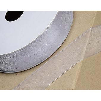 25m Silver 38mm Wide Woven Edge Organza Ribbon for Crafts