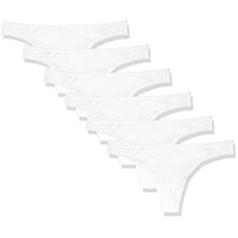 Essentials Women's Cotton Stretch Thong Panty, 6-Pack, White, S