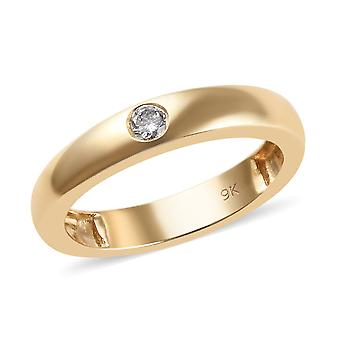 Bague en diamant blanc or jaune 9ct pour femmes Solitaire SGL Certifié TJC