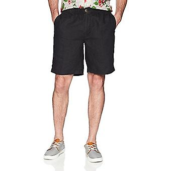 """28 Palms Men's Relaxed-Fit 9"""" Inseam Linen Short with Drawstring, Black, Small"""