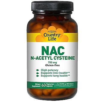 Country Life, NAC, N-Acetyl Cysteine, 750 mg, 60 Vegetarian Capsules