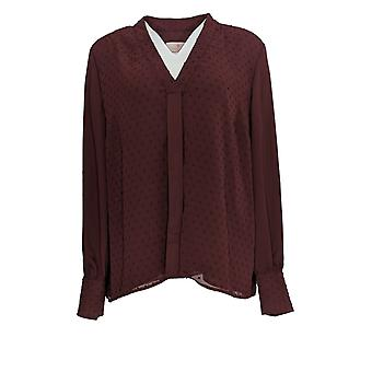Laurie Felt Women's Pleated Dot Blouse Burg Red A367342