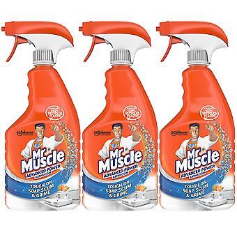 3 x 750ml Mr Muscle Bathroom Soap Grime Cleaner Spray Advanced Mandarin