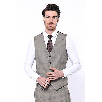 Beige plaid men vest