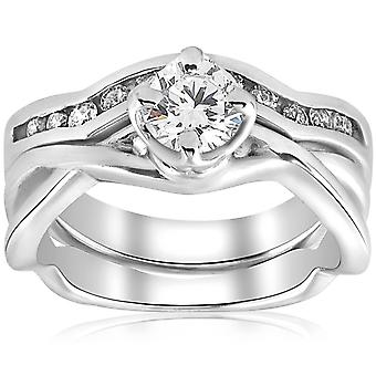 Certified 3/4ct Diamond Solitaire Engagement Ring Set White Gold 7.16grams