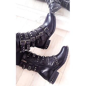 IKRUSH Womens Carmen Buckle Studded Boots