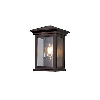 Iluminación luminosa - Lámpara de pared de lavado, 1 x E27, IP54, bronce antiguo, vidrio de semillas transparentes