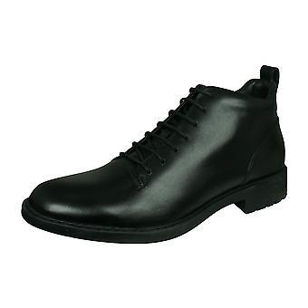 Geox U Kapsian C menns lærstøvler/sko-svart