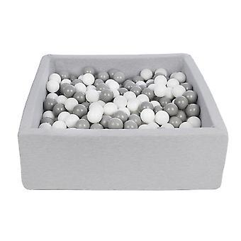 Hoyo de bola cuadrada 90x90 cm con 450 bolas blancas y grises
