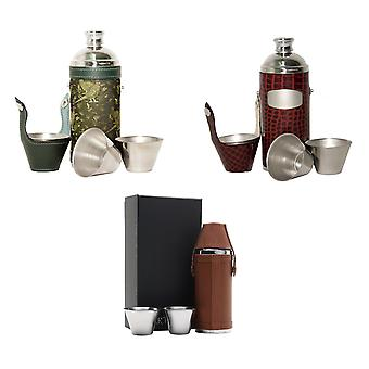 Bisley Hunters Flask Cup set - stainless steel 8oz flask 1oz cups - gift boxed