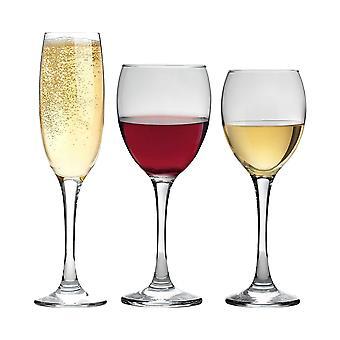Vajilla de argón copas rojas, blancas y de champán - 18 piezas - 340ml, 245ml, 220ml