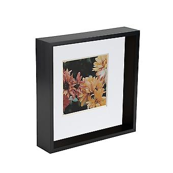 Nicola Spring 2 Pieza 8 x 8 3D Sombra Deep Box Photo Frame Set - Craft Display Picture Frame - Negro