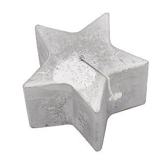Nicola Frühling Stern geformt Metallic Kerze - große Luxe Dekoration - 75 Stunden Brennzeit - Silber - 13,5 x 8,5 cm