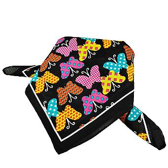 Ties Planet Black With Colourful Butterfly Bandana Neckerchief