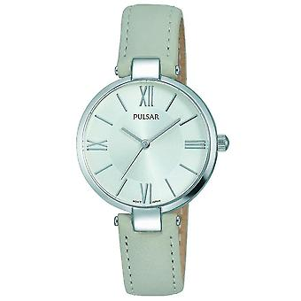Pulsar señoras gris correa de cuero plata dial 50M reloj (modelo No. PH8245X1)