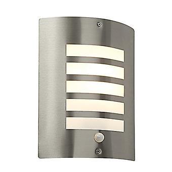 Outdoor-Wand IP44 60W Gebürsteter Edelstahl & Opal PIR1 Light IP44 - E27