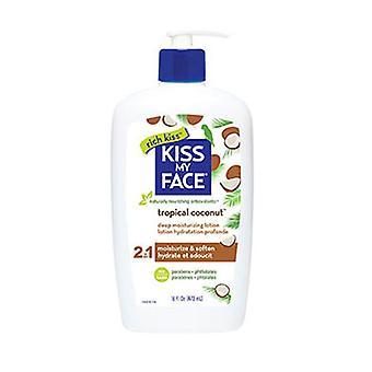Kiss My Face Deep Moisturizing Lotion, Tropical Coconut, 16 Oz