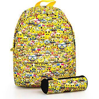 Emoji Emoticons Backpack Bag 40x30x10cm + Pen Case
