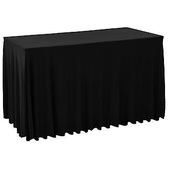 2 kpl venyttele pöytäliinoja, joiden reuna on musta 183 x 76 x 74 cm