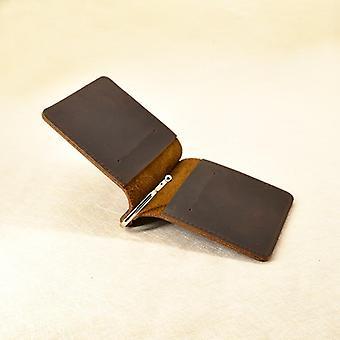 Handmade Money Clip Wallet Slim Genuine Leather With Metal Money Holder Wallet