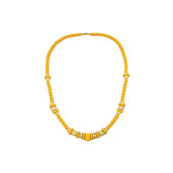 halskjede gravert perle gul 75cm