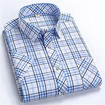 Homme Été Short-sleeved Leisure Slim Fit Plaid Shirt