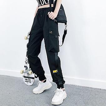 Dámské módní streetwear cargo kalhoty černé kotníkové elastické joggery