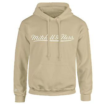 Mitchell & Ness Script Logo Tan Hoodie Herre Hooded Pullover Jumper A40AB