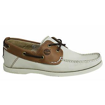 تيمبرلاند كلاسيك 2 العين الجلود البيضاء 2 لهجة الدانتيل حتى الرجال أحذية قارب A13I1