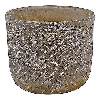 Weave Effect Cement Pot, Medium, 19cm diameter