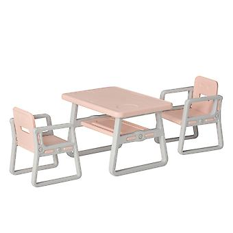HOMCOM Kids Table and Chairs Set Activity Play Table Writting Desk w/ 2 High-Back Chairs Storage Tray for Boys Girls Toddlers Age 1 to 6 Years Pink