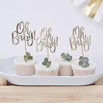 Or déjoué OH BABY! Baby Shower CUPCAKE TOPPERS Pack de 12