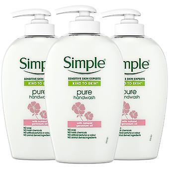 3x250ml eenvoudige gevoelige huid experts pure hand wassen met geranium olie
