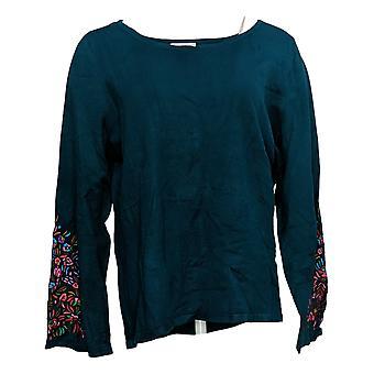 Linea por Louis Dell'Olio Women's Sweater c/ Bordado Verde A343152
