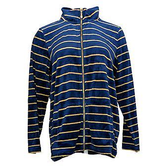 Quacker Factory Women's Striped Lurex Knit Velvet Zip Jacket Blue A343662