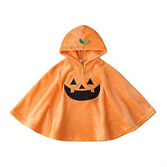 Unisex Baby Smiles Pumpkin Flannel Outerwear Hooded Cloak 120cm