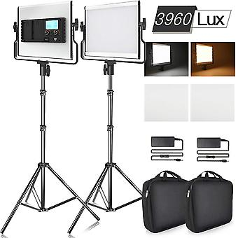 Samtian 3960 lux bi-color photography lighting kit led video light with lcd display 2 packs dimmable