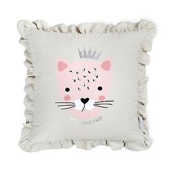 Almohada decorativa de algodón de algodón tigre gris rosa
