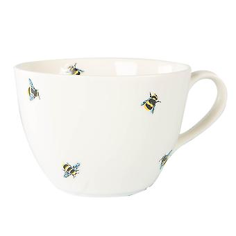 Bee Casual Coffee Mug Patterned Porcelain Snack Dessert Dishes 490ml White